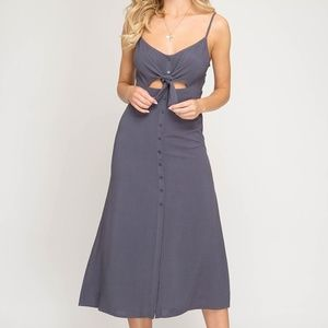 Grey Navy Midi Dress